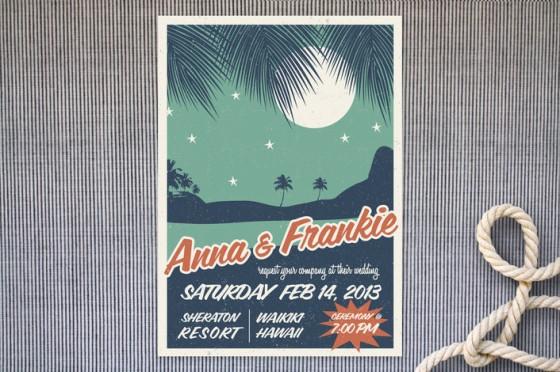 Moderno e com inspiração no pop e no navy, esse convite tem tudo a ver com casamentos na praia...
